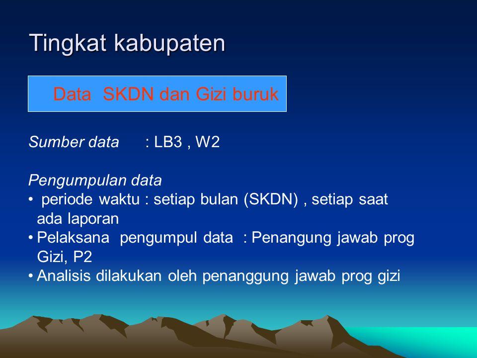 Tingkat kabupaten Data SKDN Data SKDN dan Gizi buruk