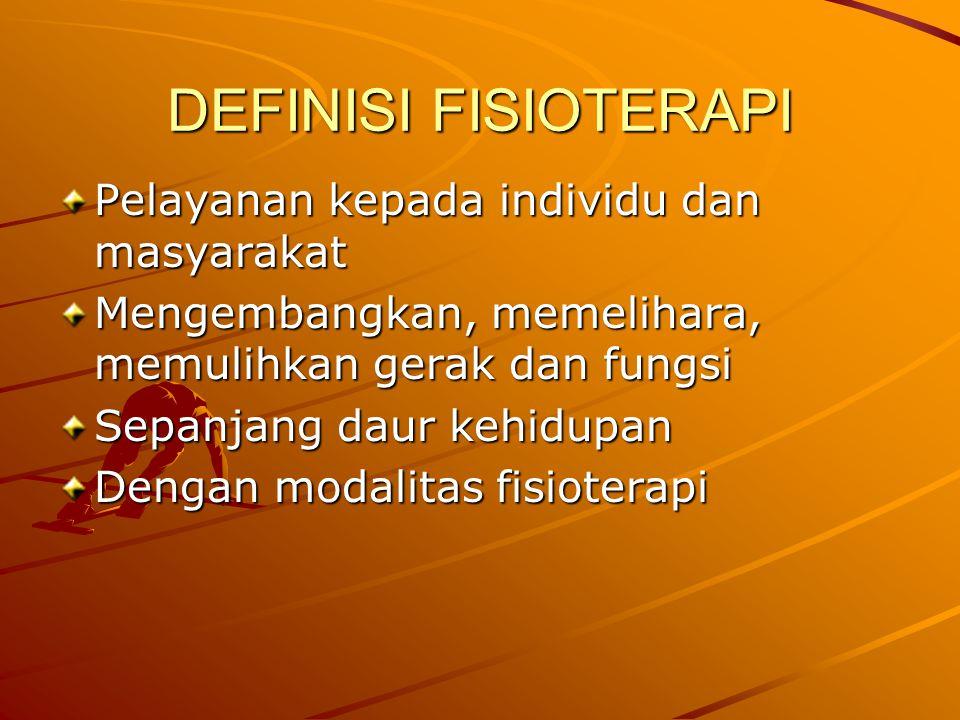 DEFINISI FISIOTERAPI Pelayanan kepada individu dan masyarakat
