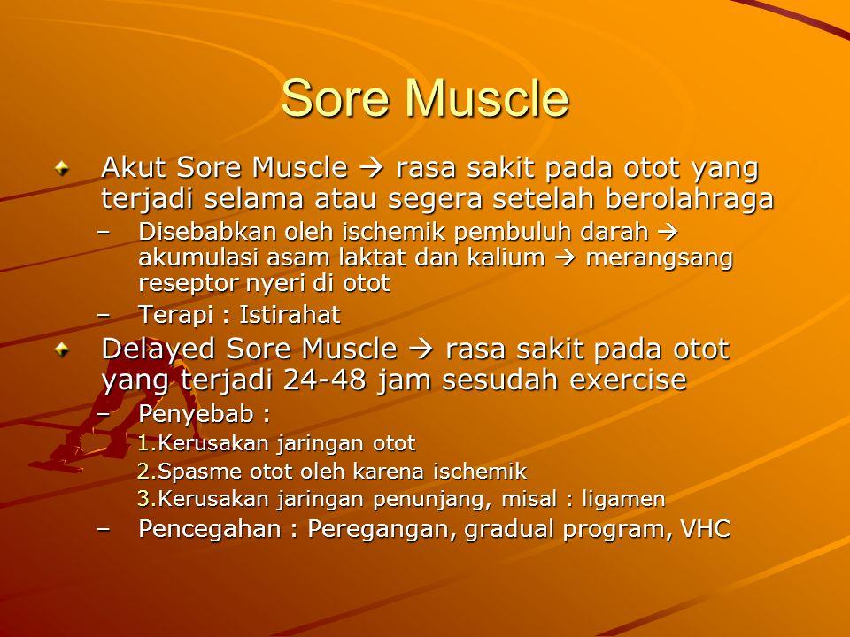 Sore Muscle Akut Sore Muscle  rasa sakit pada otot yang terjadi selama atau segera setelah berolahraga.