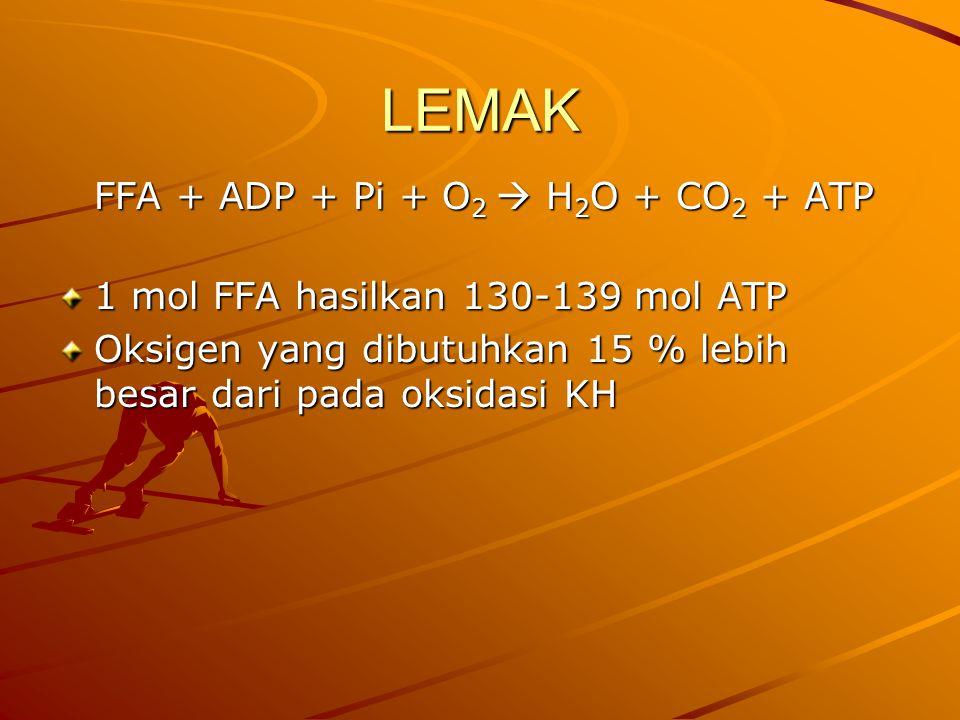 LEMAK FFA + ADP + Pi + O2  H2O + CO2 + ATP