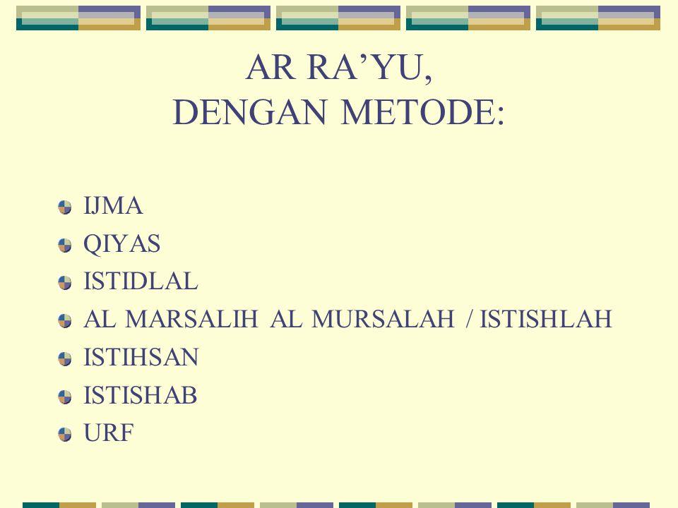 AR RA'YU, DENGAN METODE:
