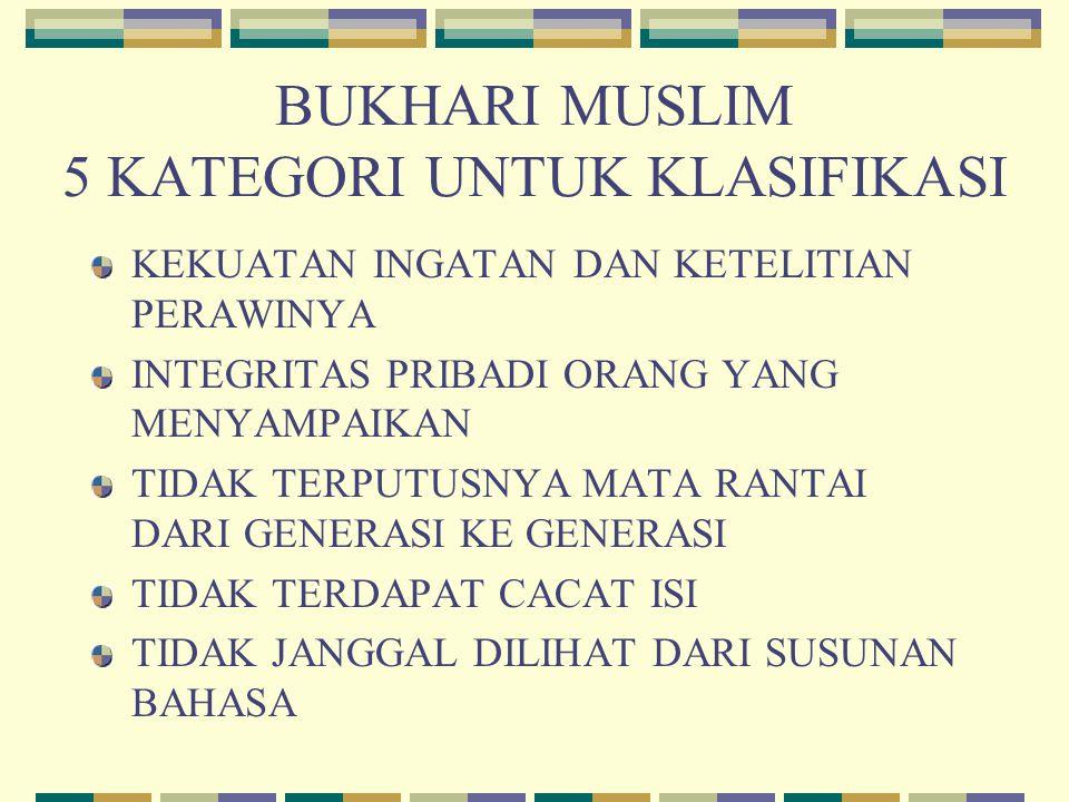 BUKHARI MUSLIM 5 KATEGORI UNTUK KLASIFIKASI
