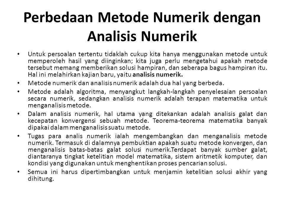 Perbedaan Metode Numerik dengan Analisis Numerik