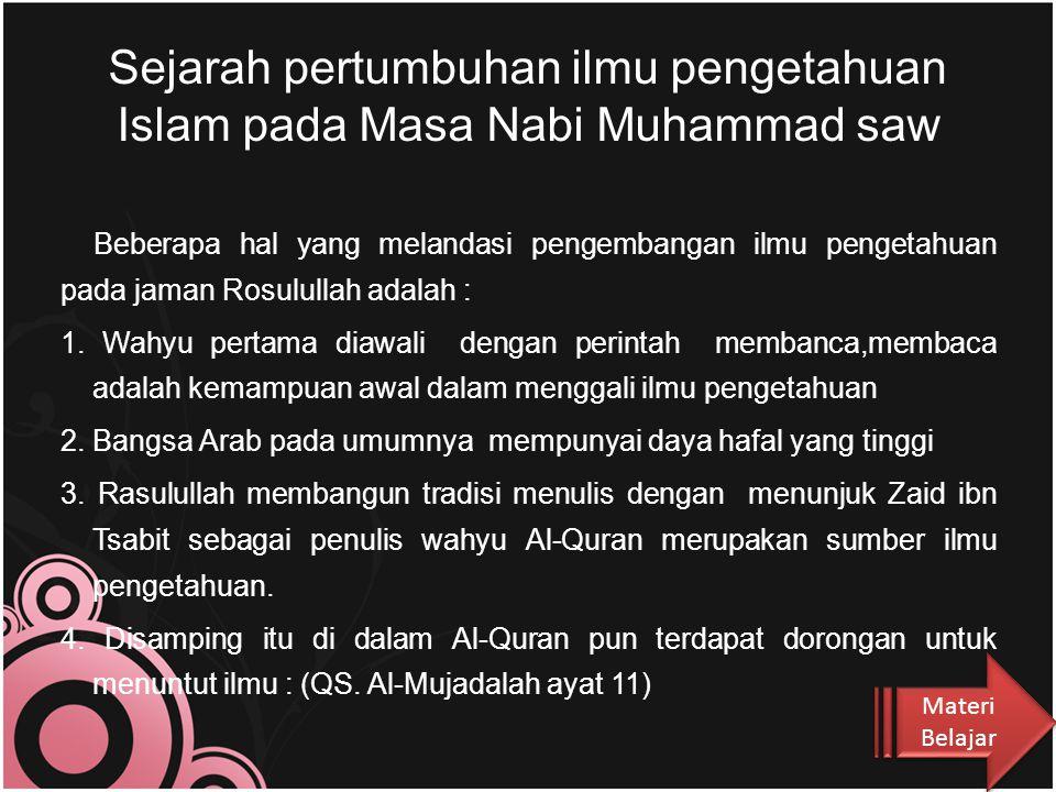 Sejarah pertumbuhan ilmu pengetahuan Islam pada Masa Nabi Muhammad saw