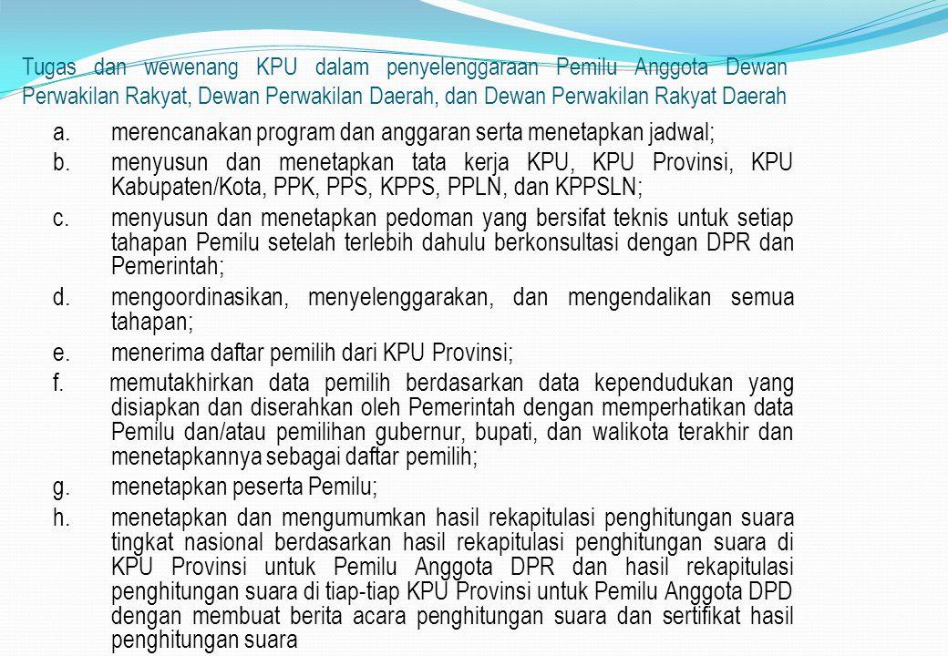 a. merencanakan program dan anggaran serta menetapkan jadwal;