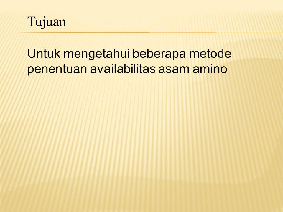 Tujuan Untuk mengetahui beberapa metode penentuan availabilitas asam amino