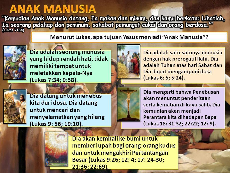 Menurut Lukas, apa tujuan Yesus menjadi Anak Manusia