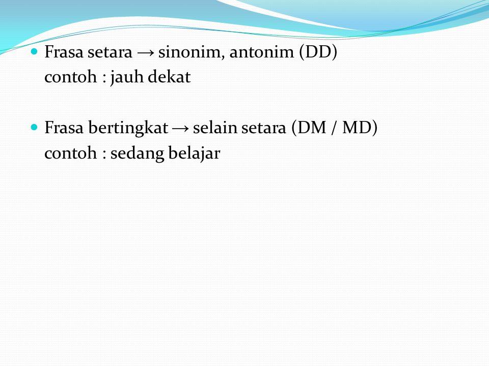 Frasa setara → sinonim, antonim (DD)