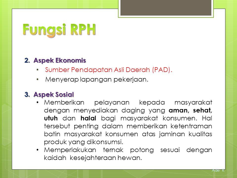 Fungsi RPH Aspek Ekonomis Sumber Pendapatan Asli Daerah (PAD).