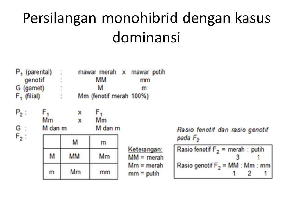 Persilangan monohibrid dengan kasus dominansi