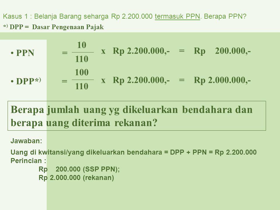Kasus 1 : Belanja Barang seharga Rp 2. 200. 000 termasuk PPN