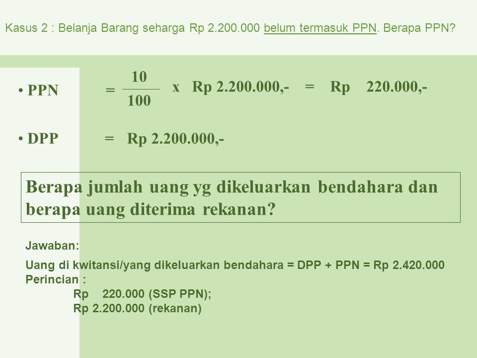 Kasus 2 : Belanja Barang seharga Rp 2. 200. 000 belum termasuk PPN