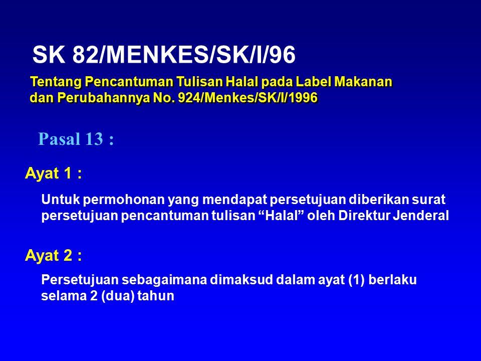 SK 82/MENKES/SK/I/96 Pasal 13 : Ayat 1 : Ayat 2 :