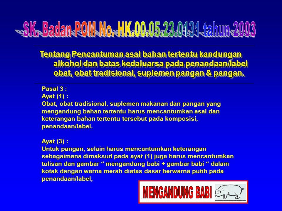 MENGANDUNG BABI SK. Badan POM No. HK.00.05.23.0131 tahun 2003
