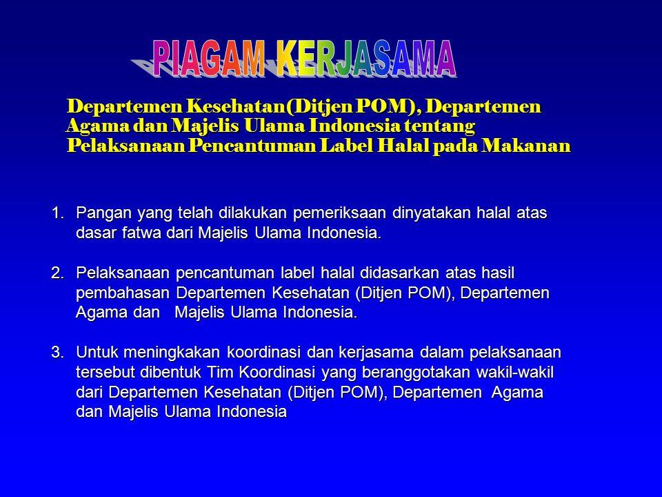 PIAGAM KERJASAMA Departemen Kesehatan(Ditjen POM), Departemen