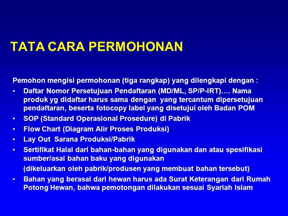 TATA CARA PERMOHONAN Pemohon mengisi permohonan (tiga rangkap) yang dilengkapi dengan :
