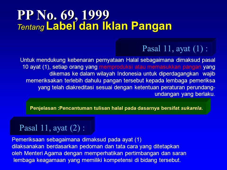 PP No. 69, 1999 Pasal 11, ayat (1) : Pasal 11, ayat (2) :