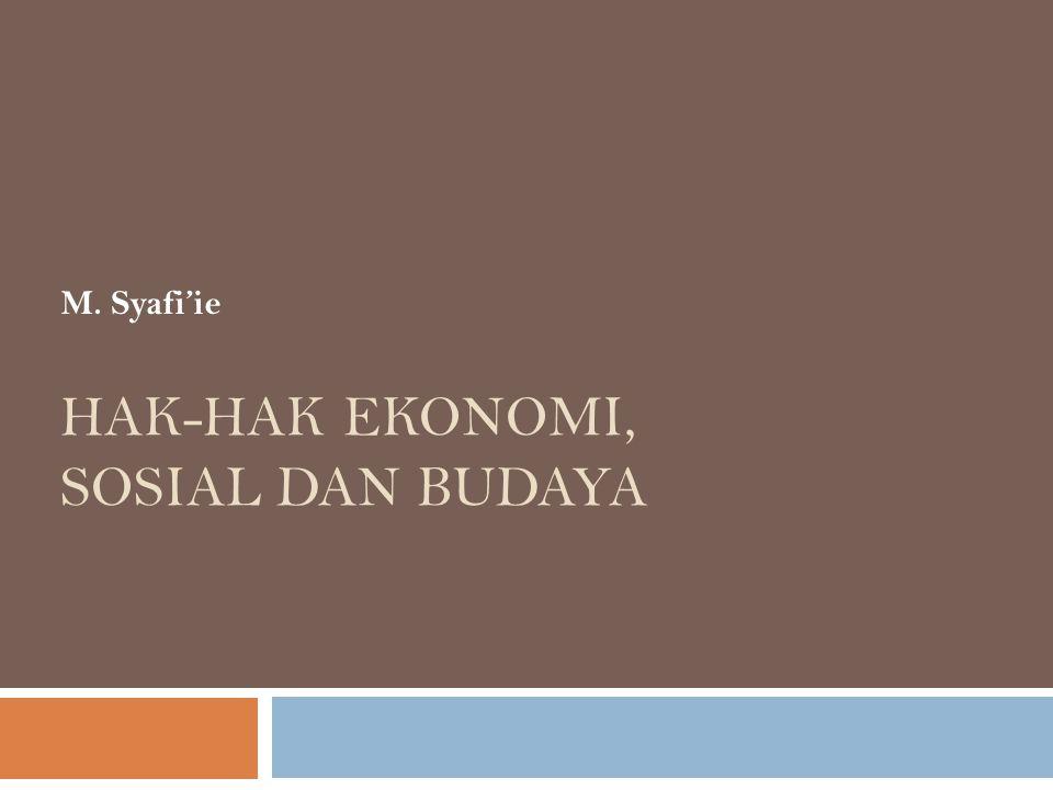 Hak-hak Ekonomi, Sosial dan Budaya