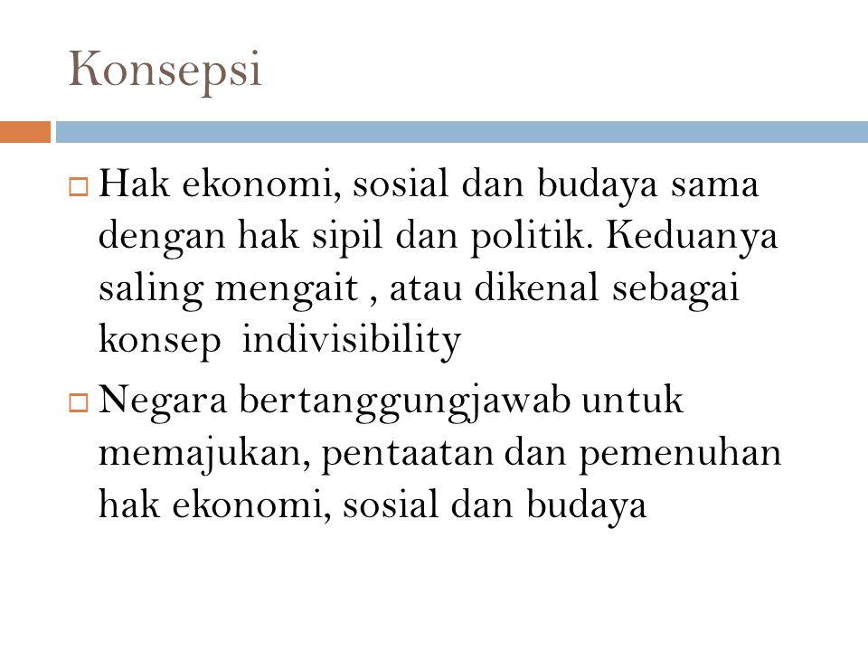 Konsepsi Hak ekonomi, sosial dan budaya sama dengan hak sipil dan politik. Keduanya saling mengait , atau dikenal sebagai konsep indivisibility.