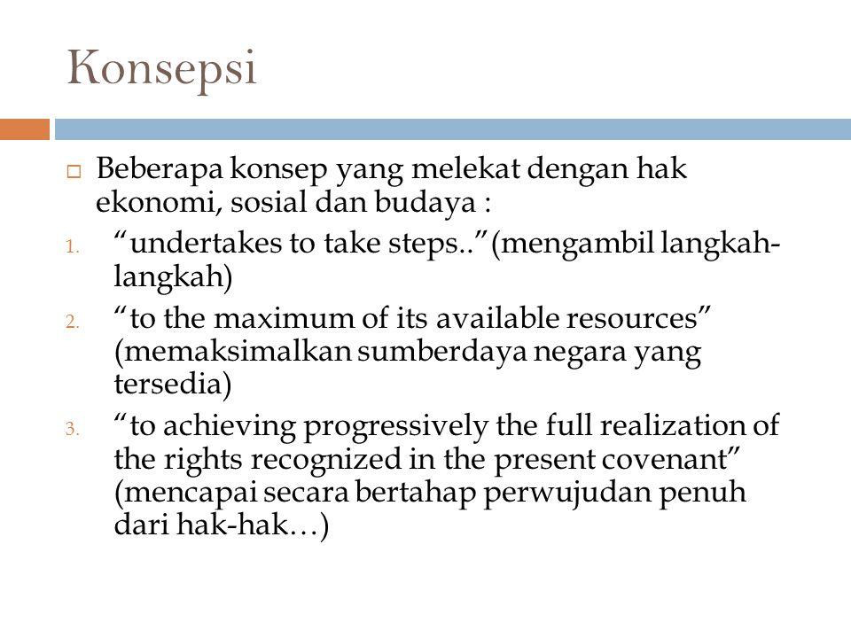 Konsepsi Beberapa konsep yang melekat dengan hak ekonomi, sosial dan budaya : undertakes to take steps.. (mengambil langkah- langkah)