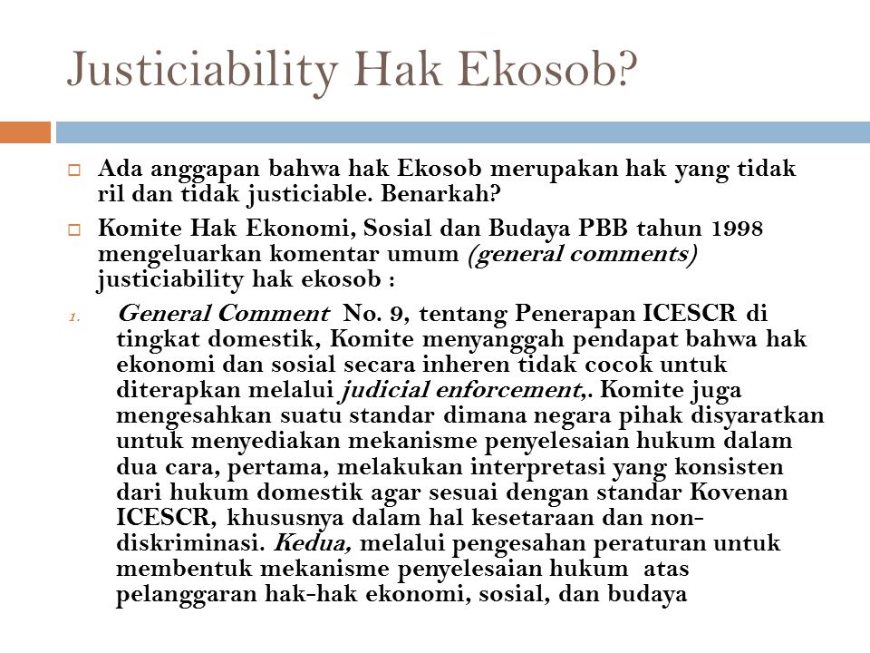 Justiciability Hak Ekosob