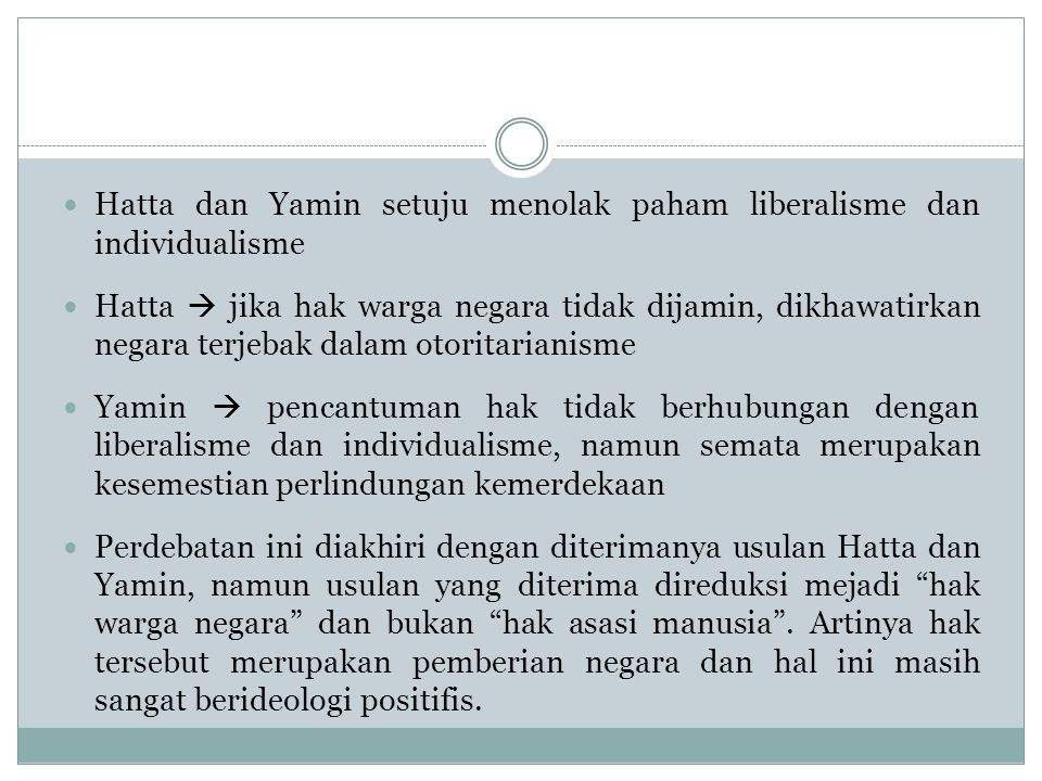 Hatta dan Yamin setuju menolak paham liberalisme dan individualisme