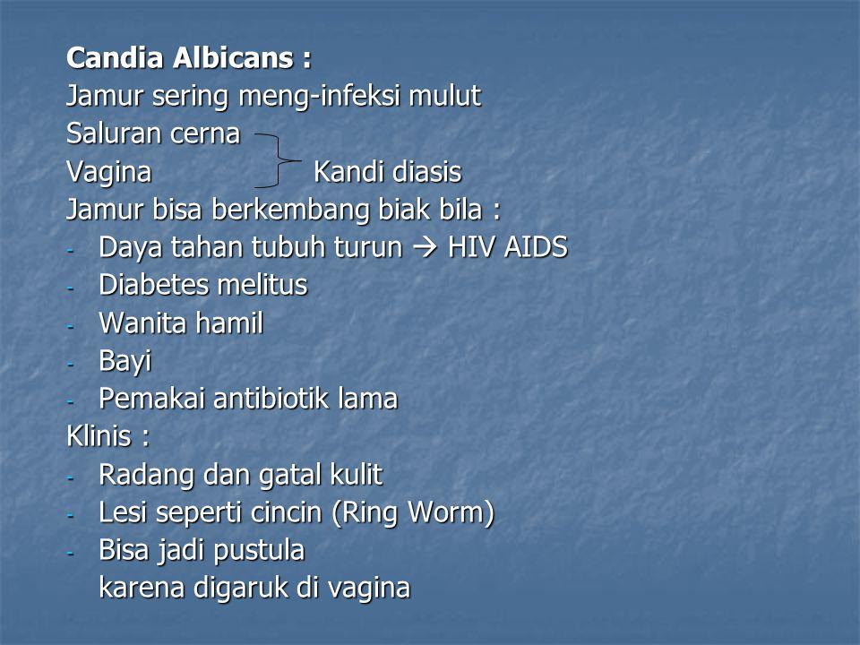 Candia Albicans : Jamur sering meng-infeksi mulut. Saluran cerna. Vagina Kandi diasis.
