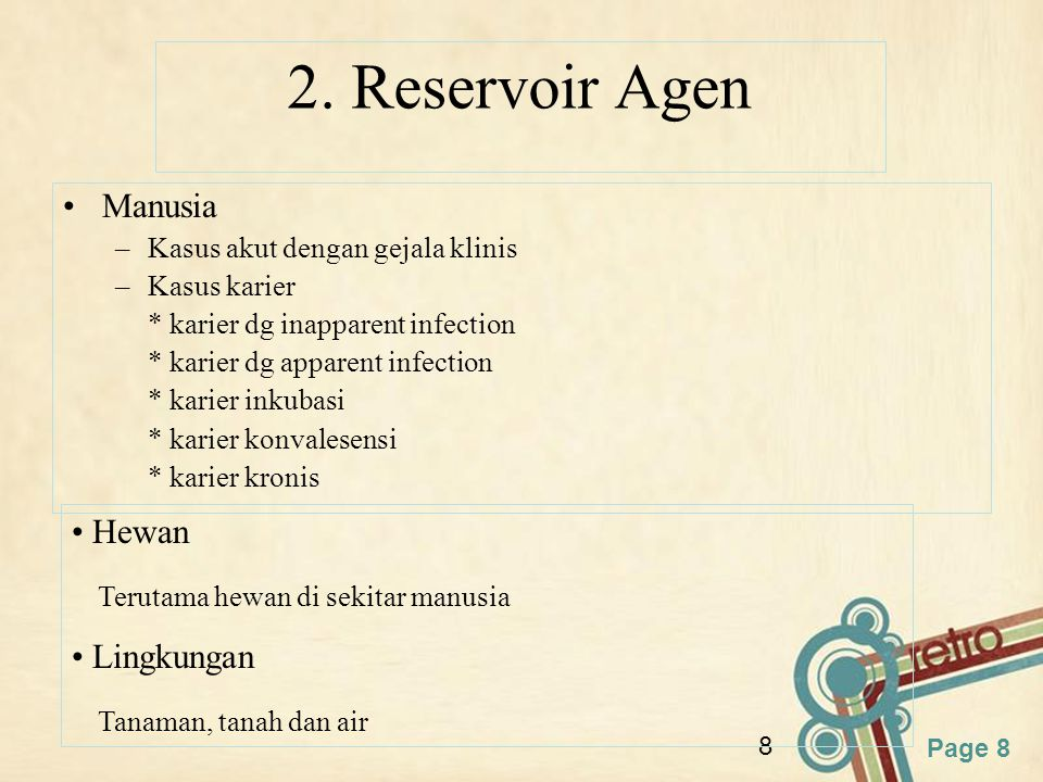 2. Reservoir Agen Manusia Hewan Terutama hewan di sekitar manusia