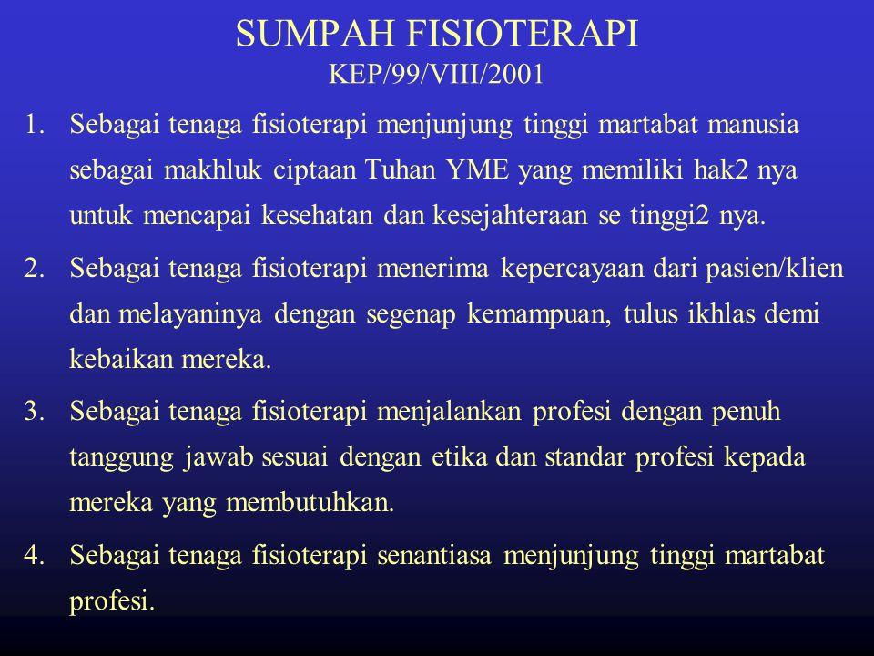 SUMPAH FISIOTERAPI KEP/99/VIII/2001