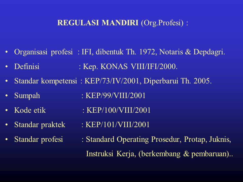 REGULASI MANDIRI (Org.Profesi) :