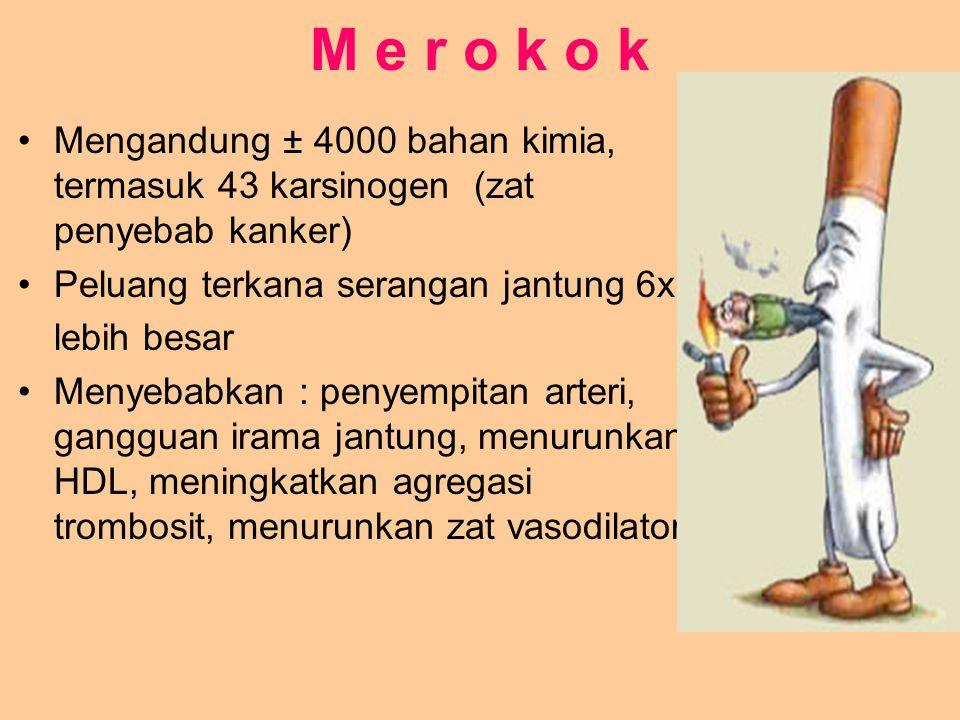 M e r o k o k Mengandung ± 4000 bahan kimia, termasuk 43 karsinogen (zat penyebab kanker) Peluang terkana serangan jantung 6x.