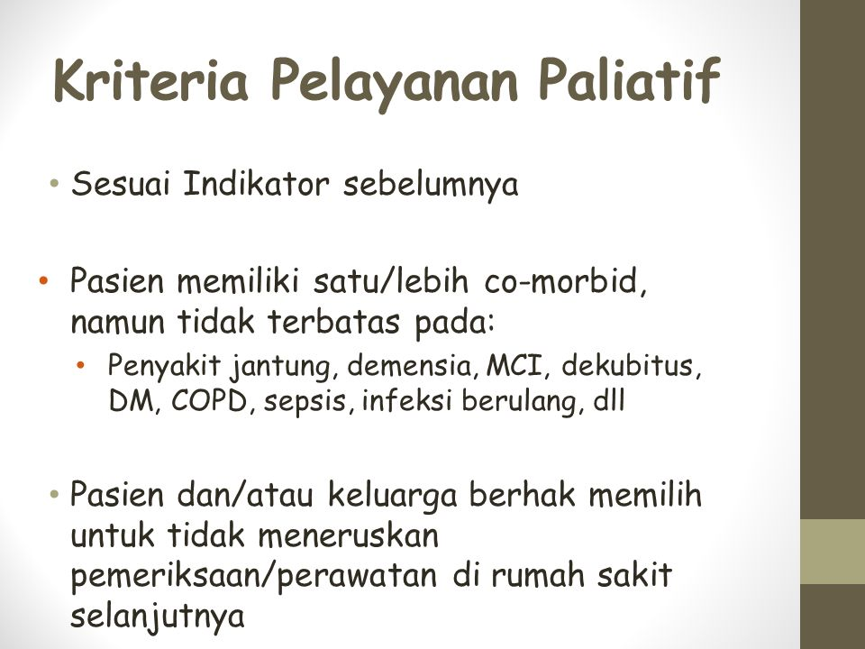Kriteria Pelayanan Paliatif