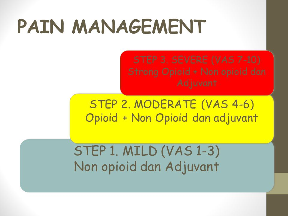 PAIN MANAGEMENT STEP 1. MILD (VAS 1-3) Non opioid dan Adjuvant