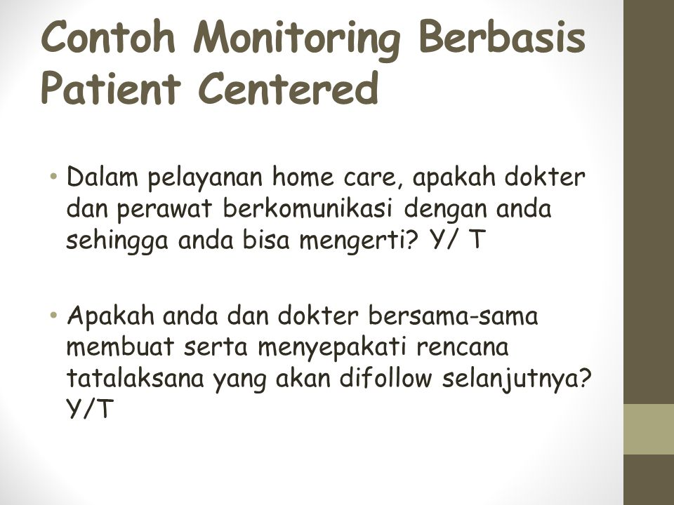 Contoh Monitoring Berbasis Patient Centered