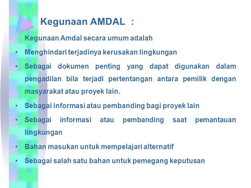 Kegunaan AMDAL : Kegunaan Amdal secara umum adalah. Menghindari terjadinya kerusakan lingkungan.