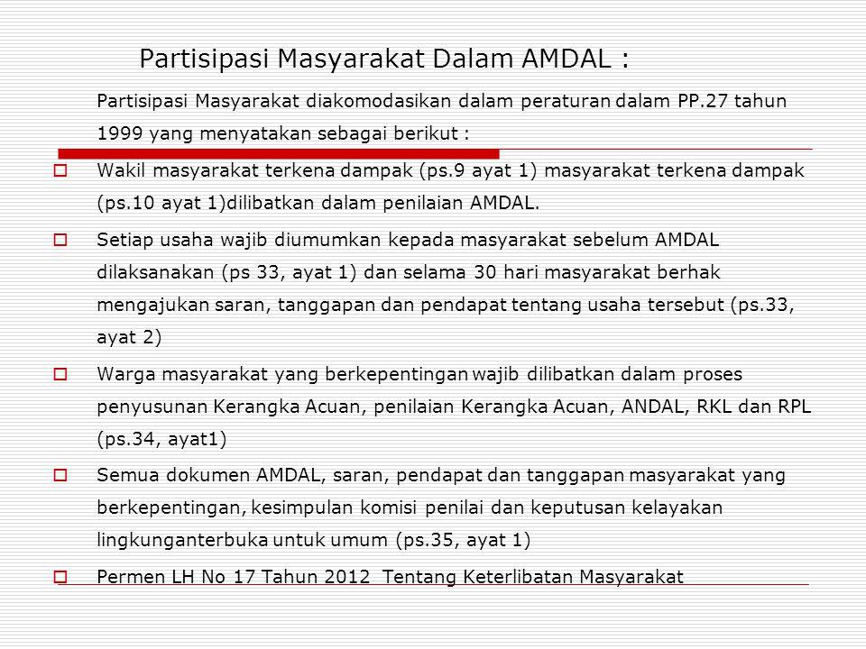 Partisipasi Masyarakat Dalam AMDAL :