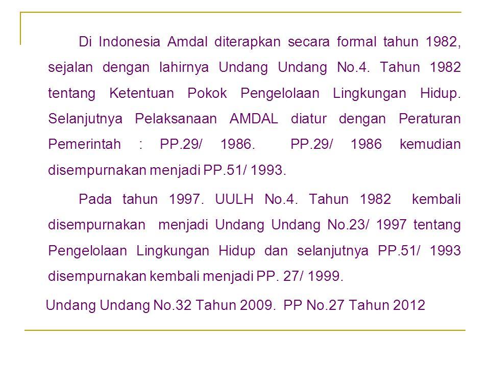 Undang Undang No.32 Tahun 2009. PP No.27 Tahun 2012