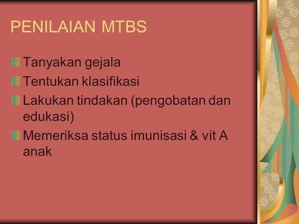 PENILAIAN MTBS Tanyakan gejala Tentukan klasifikasi
