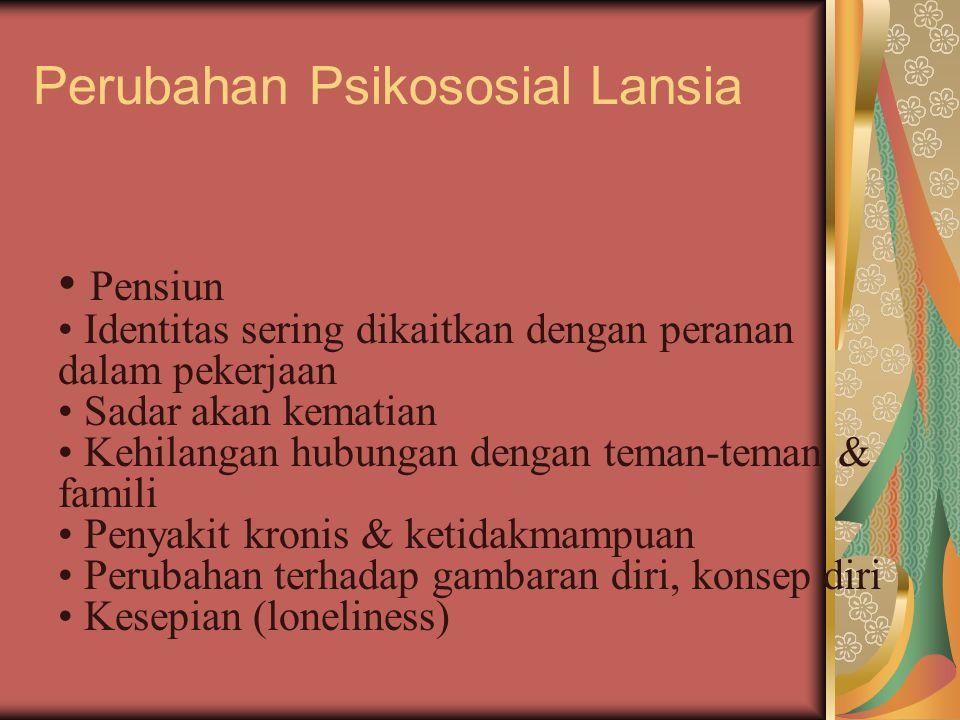 Perubahan Psikososial Lansia