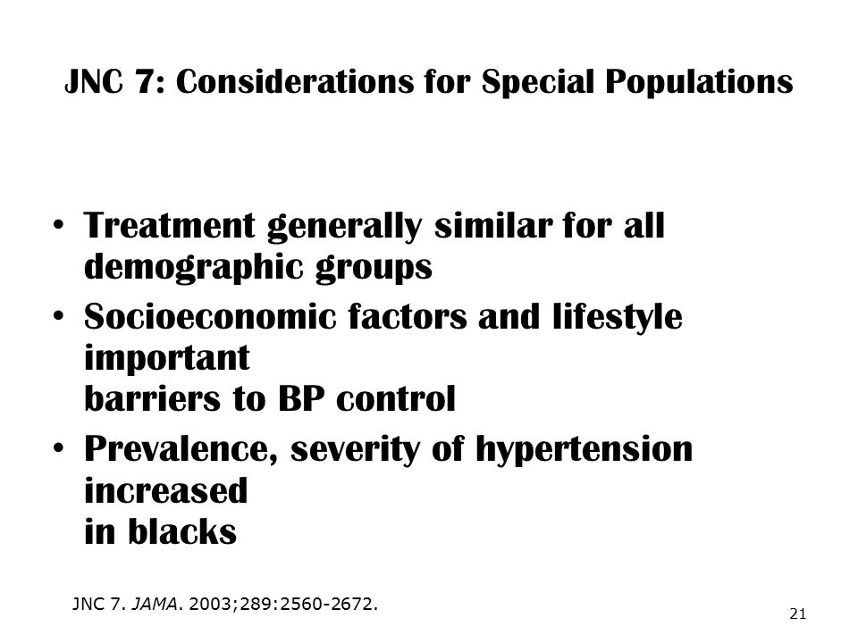 JNC 7: Considerations for Special Populations