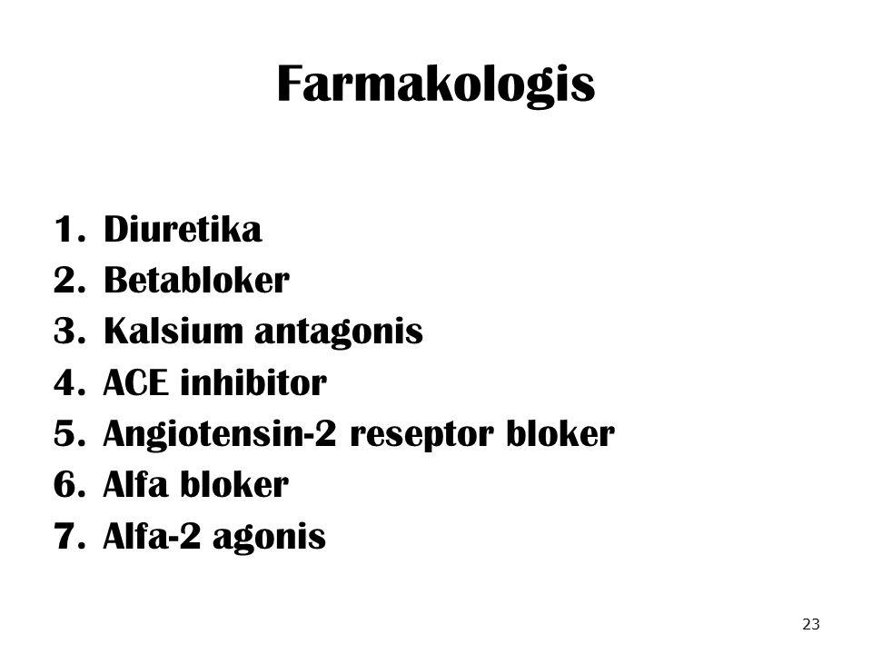 Farmakologis Diuretika Betabloker Kalsium antagonis ACE inhibitor
