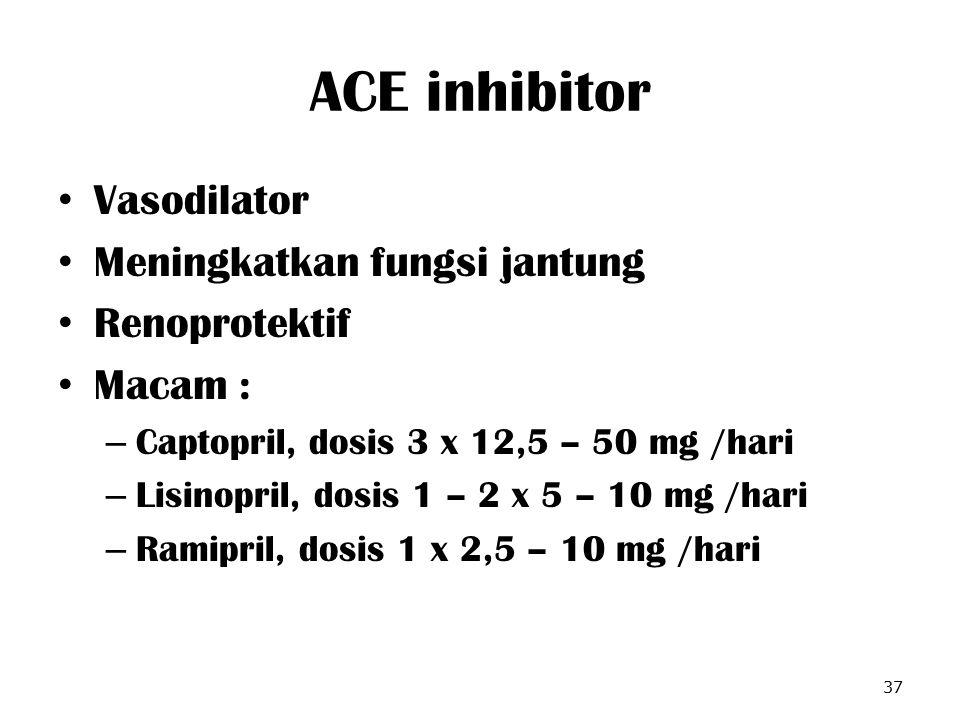 ACE inhibitor Vasodilator Meningkatkan fungsi jantung Renoprotektif