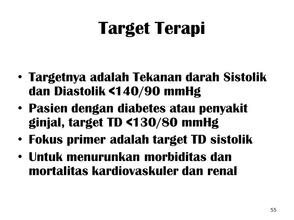 Target Terapi Targetnya adalah Tekanan darah Sistolik dan Diastolik <140/90 mmHg.