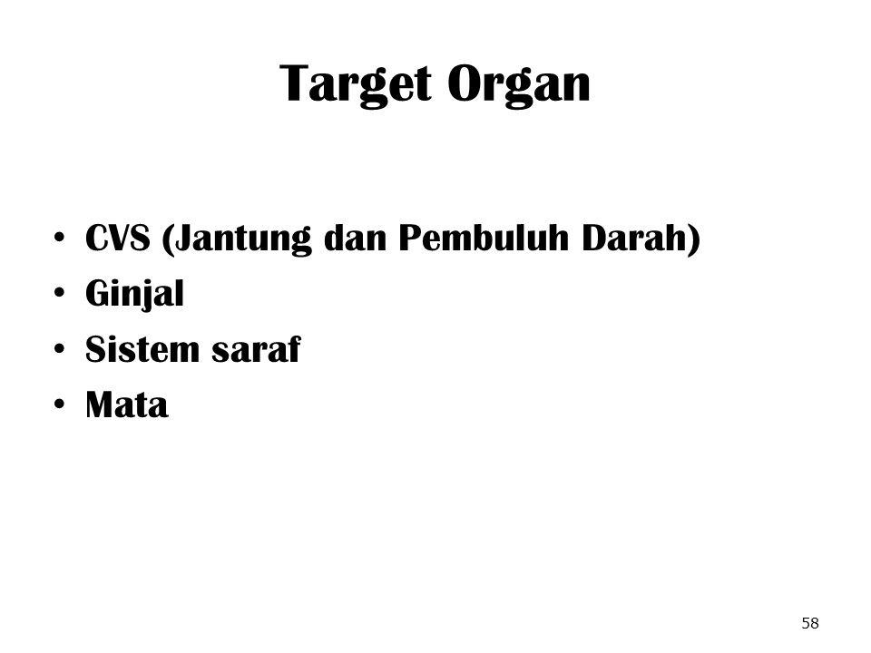 Target Organ CVS (Jantung dan Pembuluh Darah) Ginjal Sistem saraf Mata
