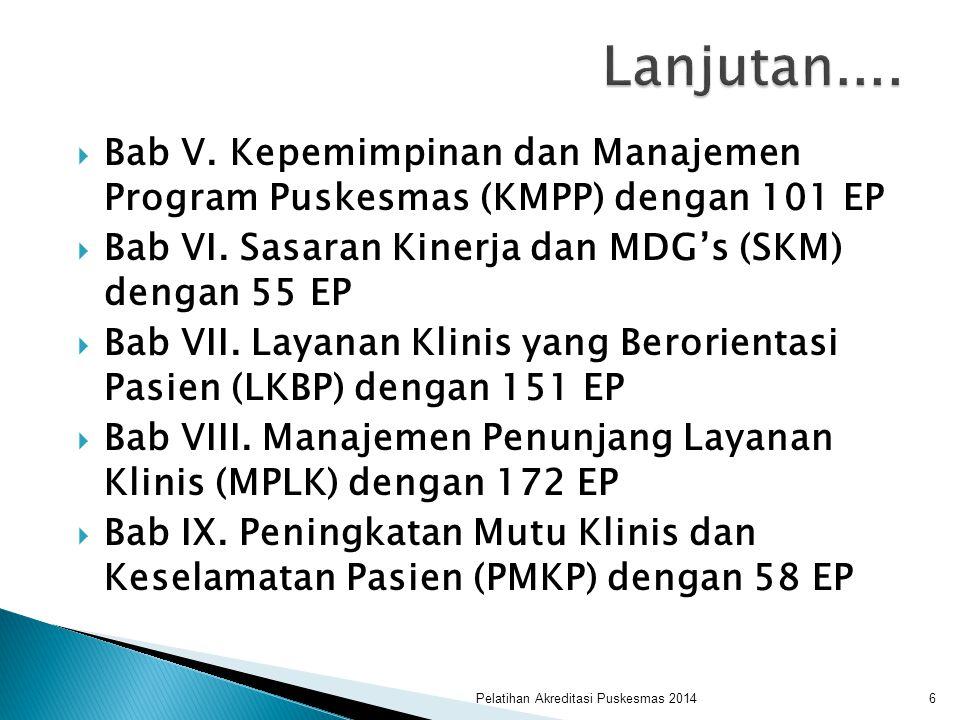 Lanjutan.... Bab V. Kepemimpinan dan Manajemen Program Puskesmas (KMPP) dengan 101 EP. Bab VI. Sasaran Kinerja dan MDG's (SKM) dengan 55 EP.