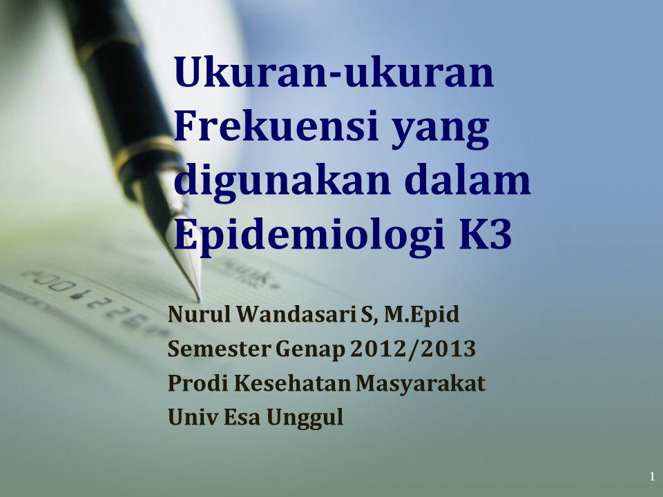 Ukuran-ukuran Frekuensi yang digunakan dalam Epidemiologi K3