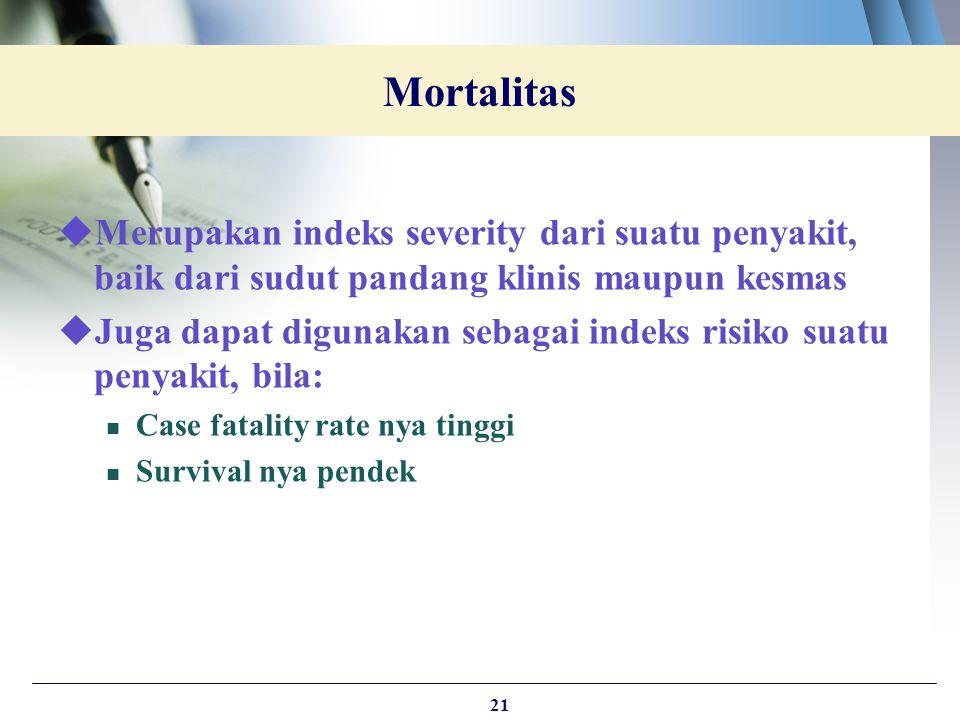 Mortalitas Merupakan indeks severity dari suatu penyakit, baik dari sudut pandang klinis maupun kesmas.