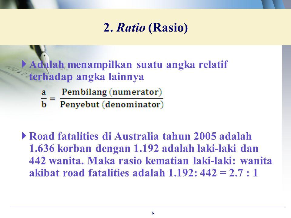 2. Ratio (Rasio) Adalah menampilkan suatu angka relatif terhadap angka lainnya.