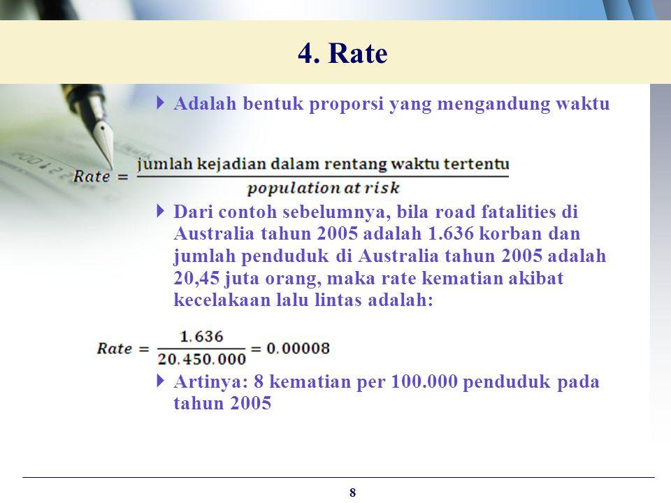 4. Rate Adalah bentuk proporsi yang mengandung waktu
