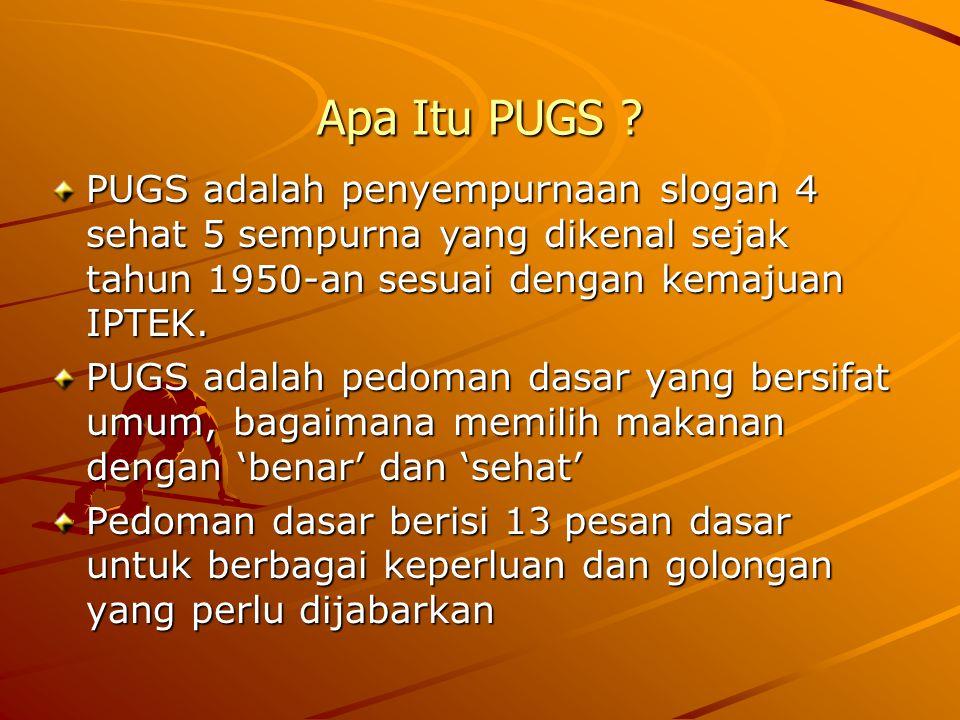 Apa Itu PUGS PUGS adalah penyempurnaan slogan 4 sehat 5 sempurna yang dikenal sejak tahun 1950-an sesuai dengan kemajuan IPTEK.